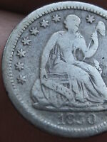 1850 O SEATED LIBERTY HALF DIME- VG/FINE DETAILS