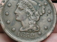 1852 BRAIDED HAIR LARGE CENT PENNY- VF DETAILS