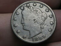 1889 LIBERTY HEAD V NICKEL 5 CENT PIECE- VF DETAILS, FULL RIMS