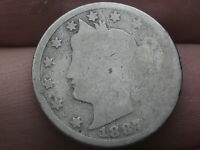 1887 LIBERTY HEAD V NICKEL 5 CENT PIECE- AG DETAILS