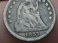 1857 P SEATED LIBERTY HALF DIME- GOOD/VG OBVERSE DETAILS
