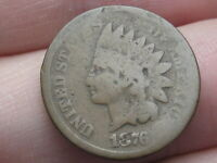 1876 INDIAN HEAD CENT PENNY- GOOD DETAILS