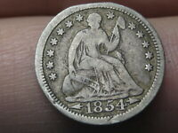 1854 P SEATED LIBERTY HALF DIME- WITH ARROWS, FINE DETAILS