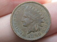 1899 INDIAN HEAD CENT PENNY, FINE DETAILS, FULL RIMS
