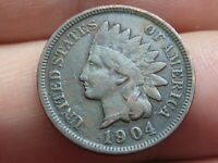 1904 INDIAN HEAD CENT PENNY- VF DETAILS, TONED