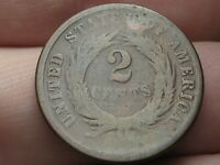 1864 TWO 2 CENT PIECE- LARGE MOTTO, GOOD DETAILS