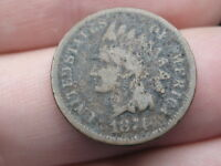 1874 INDIAN HEAD CENT PENNY- GOOD/VG DETAILS