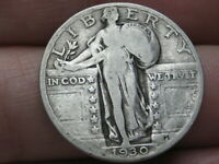 1930 P SILVER STANDING LIBERTY QUARTER, FINE/VF DETAILS