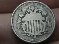 1867 SHIELD NICKEL 5 CENT PIECE- WITHOUT RAYS, NO RAYS, FINE DETAILS
