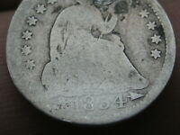 1854 P SEATED LIBERTY HALF DIME- WITH ARROWS