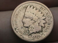 1886 INDIAN HEAD CENT PENNY, VARIETY 2, VAR 2, T2, TYPE 2, GOOD DETAILS