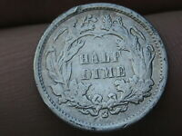 1866 S SEATED LIBERTY HALF DIME- VF DETAILS