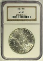 1887 VAM-14D NGC MINT STATE 65 MORGAN DOLLAR [INV 928]  FINEST GRADED