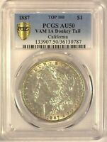 1887 VAM-25A/1A TOP100 DONKEY TAIL CALIFORNIA PCGS AU50 MORGAN DOLLAR [INV 1965]