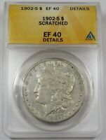 1902-S ANACS EF40 DETAILS SCRATCHED SILVER MORGAN DOLLAR $1 US COIN 25273A