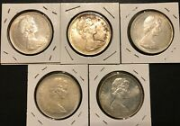 5  1966 CANADIAN SILVER DOLLAR COINS
