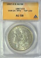 1887-O VAM-2A TOP 100 AOH ANACS AU58 MORGAN DOLLAR [INV 2002]