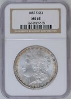 1887-S VAM-5 NGC MINT STATE 65 MORGAN DOLLAR [INV 960]