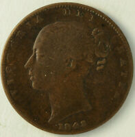 1843 OVER 2 OVERDATE FARTHING GREAT BRITAIN