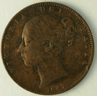 1847 SOME PITTING VF FARTHING GREAT BRITAIN