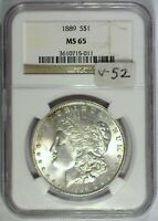 1889 VAM-52 DBL EAR AND GOUGES NGC MINT STATE 65 MORGAN DOLLAR [INV 1055]