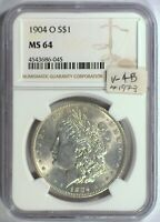 1904-O VAM-4B HIT LIST NGC MINT STATE 64 MORGAN DOLLAR [INV 1973]  LATE STATE WITH CUD