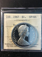 1967 CANADA 'FLYING GOOSE' SILVER DOLLAR COIN   ICCS SP 66 H