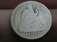 1873 S SEATED LIBERTY SILVER DIME- AG DETAILS