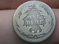 1867 S SEATED LIBERTY SILVER DIME, LOW MINTAGE DATE