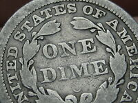 1854 O SEATED LIBERTY SILVER DIME- VG DETAILS