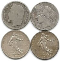 FRANCE LOT OF 4 SILVER 1 FRANC COINS 1868 BB 1887 A 1915 1918 NAPOLEON III