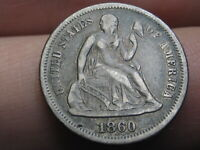 1860 P SEATED LIBERTY DIME- VF DETAILS