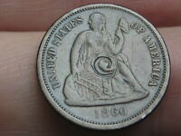 1860 P SEATED LIBERTY SILVER DIME- EXTRA FINE  DETAILS
