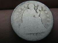 1852 SEATED LIBERTY SILVER DIME- HEAVILY WORN, LOWBALL