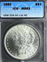 1880 P ICG MINT STATE 63 VAM 25A CLASHED