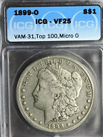 1899 O ICG VF 25 VAM 31 MICRO O TOP 100 MORGAN SILVER DOLLAR