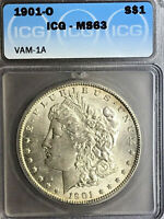 1901 O ICG MINT STATE 63 VAM 1A GOUGE IN EAR SUPER CD MORGAN SILVER DOLLAR