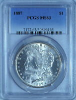 1887 MORGAN SILVER DOLLAR PCGS MINT STATE 63 CHOICE UNCIRCULATED WHITE COIN