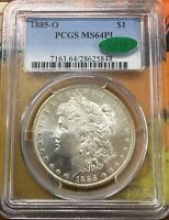 1885-O PCGS MINT STATE 64PL CAC APPROVED MORGAN DOLLAR