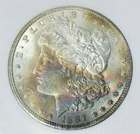 1887 MORGAN DOLLAR NGC CERTIFIED MINT STATE 63 TONED