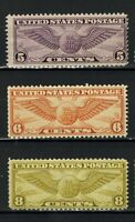 1931 1934 US AIRMAIL STAMPS   SCC16 17 19  WINGED GLOBE   MN