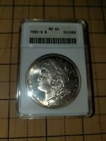 1882-S MORGAN SILVER DOLLAR MINT STATE 64 ANACS OLD SMALL HOLDER RAINBOW TONED MIRRORS
