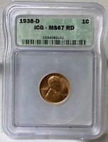 1938 D LINCOLN WHEAT CENT - GEM BU/MS -  ICG MINT STATE 67 RED