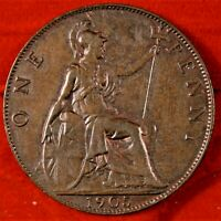 GREAT BRITAIN 1905 ONE PENNY   BRONZE