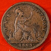 GREAT BRITAIN 1863 ONE PENNY   BRONZE