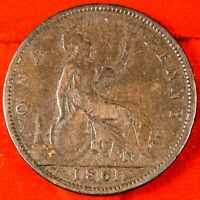 GREAT BRITAIN 1861 ONE PENNY   BRONZE
