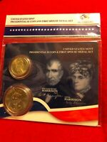 WILLIAM HENRY HARRISON  PRES $1 DOLLAR COIN & FIRST SPOUSE MEDAL SET  XN3