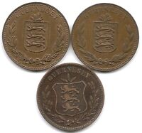 GUERNSEY LOT OF 3 8 DOUBLES COINS 1902 H 1947 H & 1949 H LOW MINTAGES