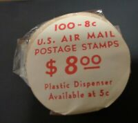 C65A TAGGED COIL ROLL 100 UNOPENED FV$8 AIRLINER OVER CAPITOL 1964 MINT NH STAMP