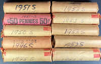 10 S MINT ROLLS LINCOLN WHEAT CIRC PENNIES 1945S 1946S 1950S 1951S 1952S 1953S